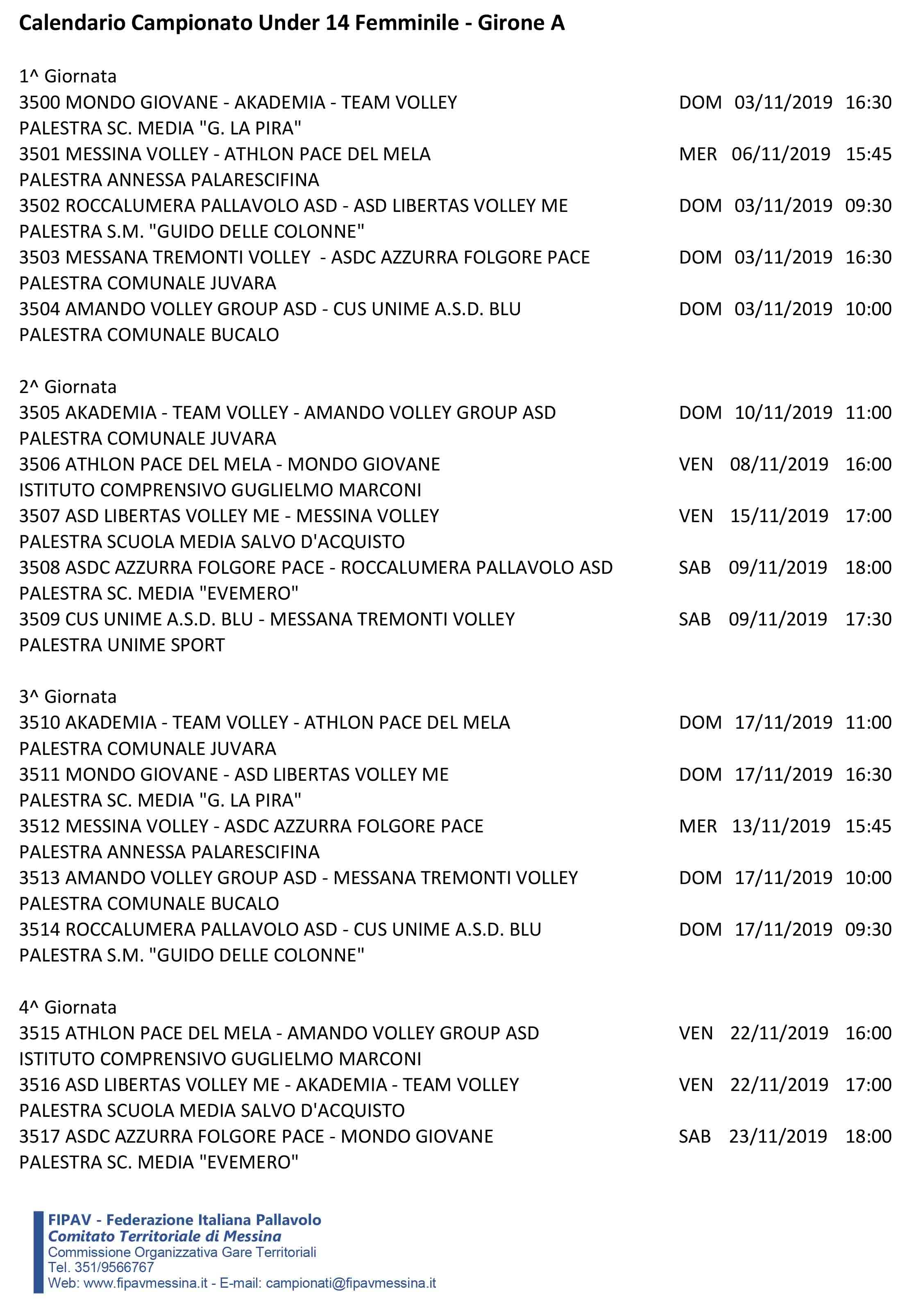 Calendario Definitivo Under 14FA-3