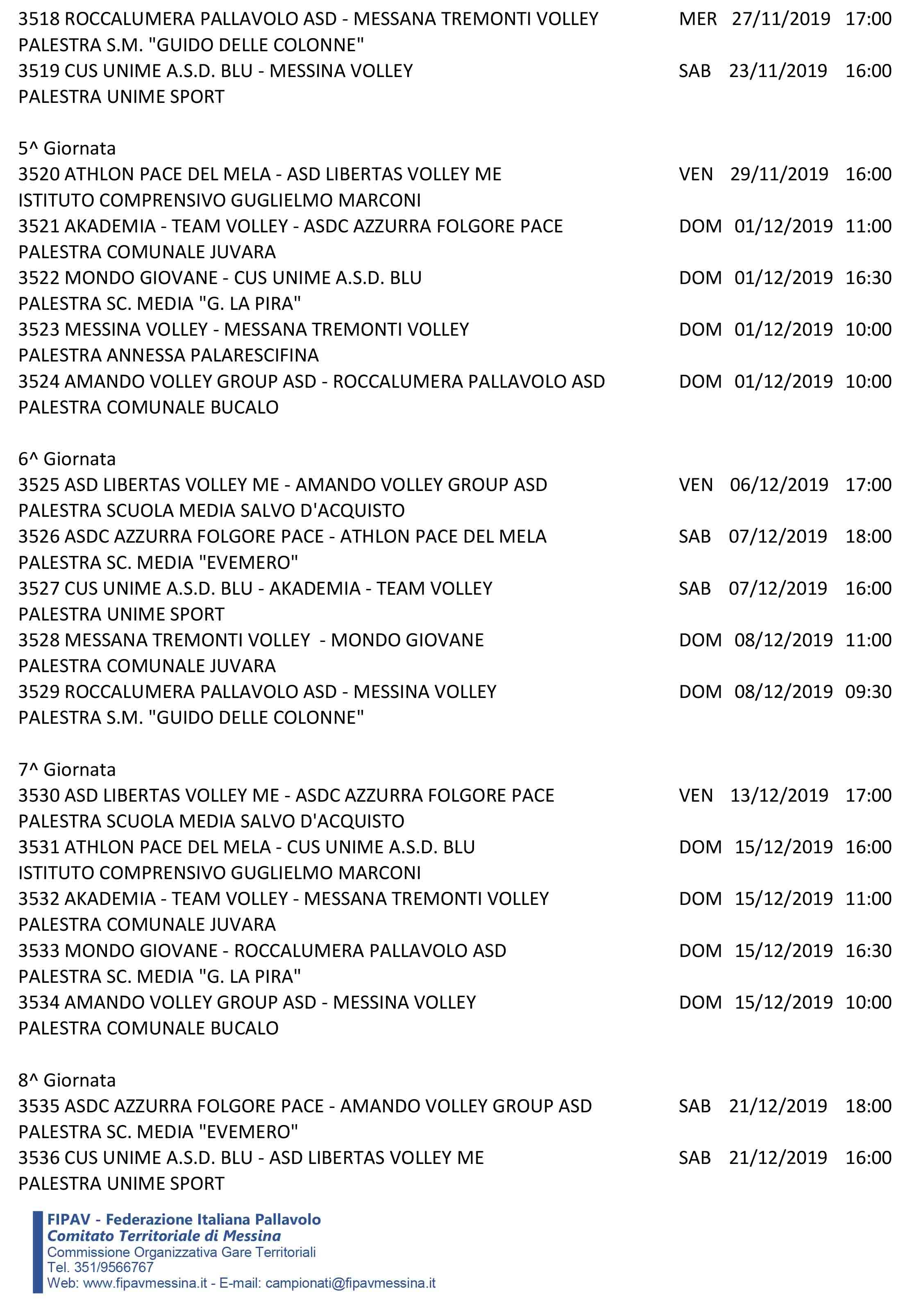 Calendario Definitivo Under 14FA-4