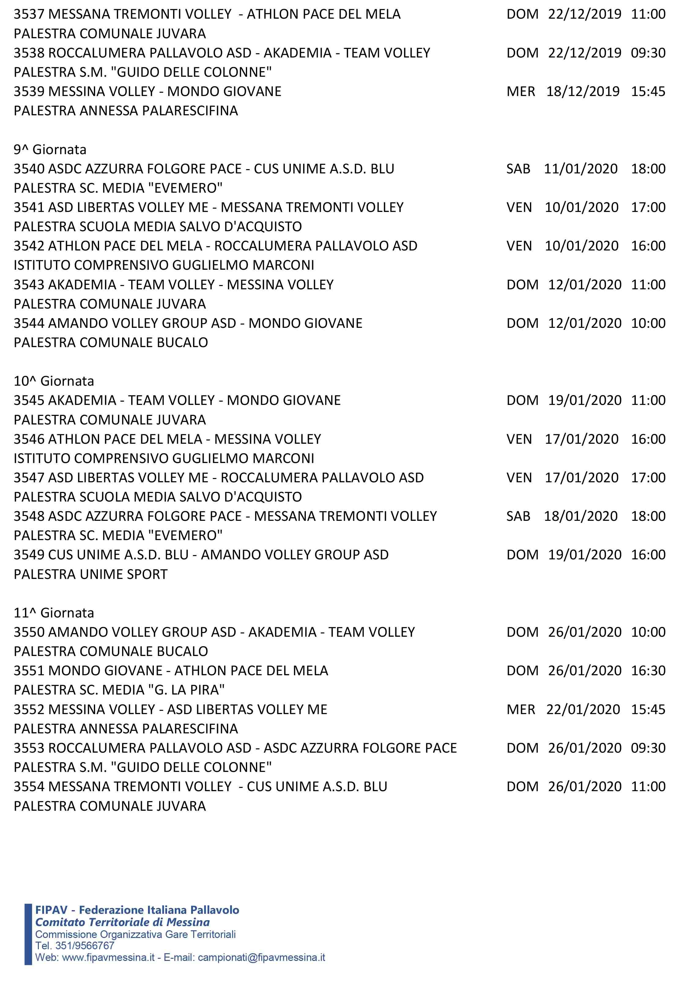 Calendario Definitivo Under 14FA-5